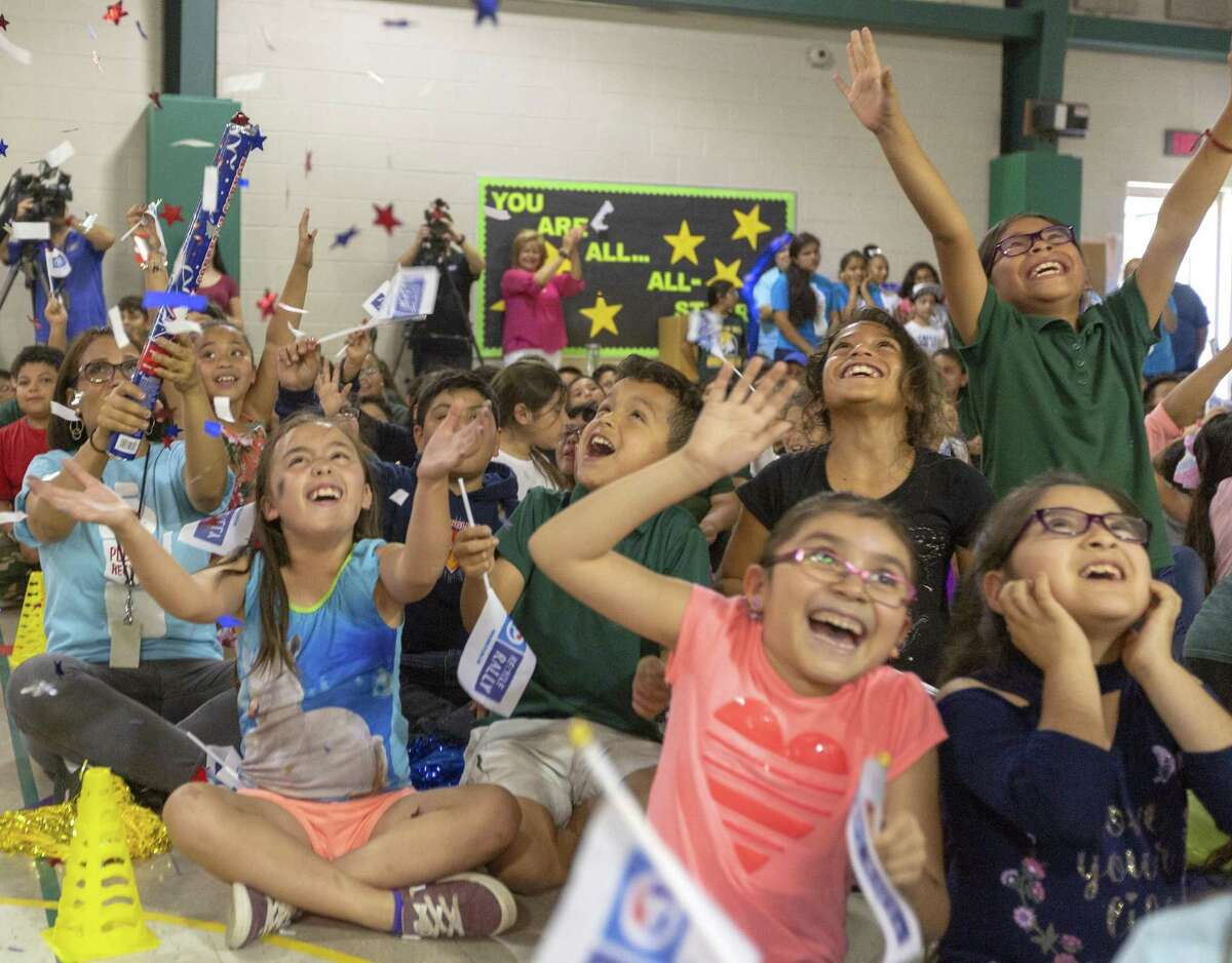 Arnold Elementary School students celebrate Wednesday, May 29, 2019 as it is announced the school won first place and $50,000 from PepsiCo for collecting 3.2 million pounds of cans and bottles as part of the company's Recycle Rally for schools, a national competition.