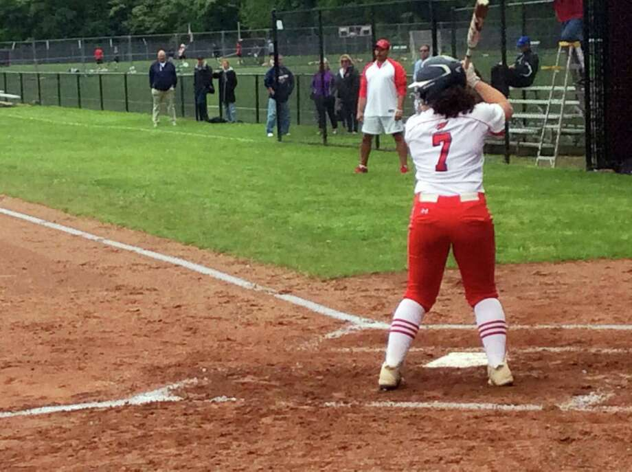 Greenwich High School sophomore catcher hit two home runs in the Cardinals' game against visiting Ridgefield in the opening round of the Class LL Tournament on Wednesday, May 29, 2019. The Cardinals held a 12-10 lead in the bottom of the sixth inning before play was suspended due to rain. The game is scheduled to be completed on Thursday. Photo: David Fierro / Hearst Connecticut Media / Connecticut Post
