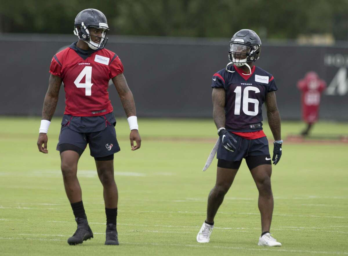 Quarterback Deshaun Watson (4) and wide receiver Keke Coutee (16) have a conversation during Houston Texans OTA's at the Houston Methodist Training Center on Wednesday, May 29, 2019, in Houston.