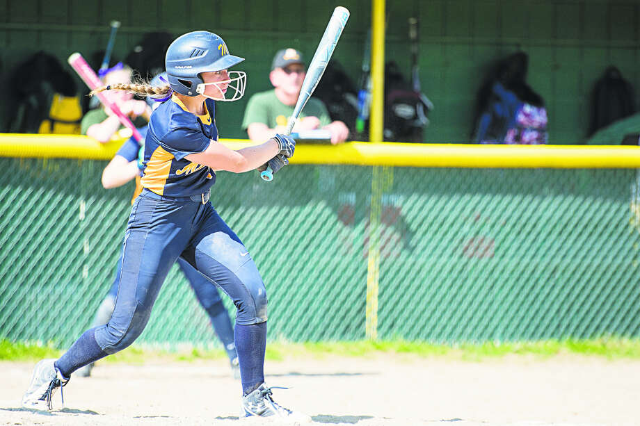 Midland High's Gabby Schloop gets a hit vs. Dow High earlier this season. Photo: Daily News File Photo