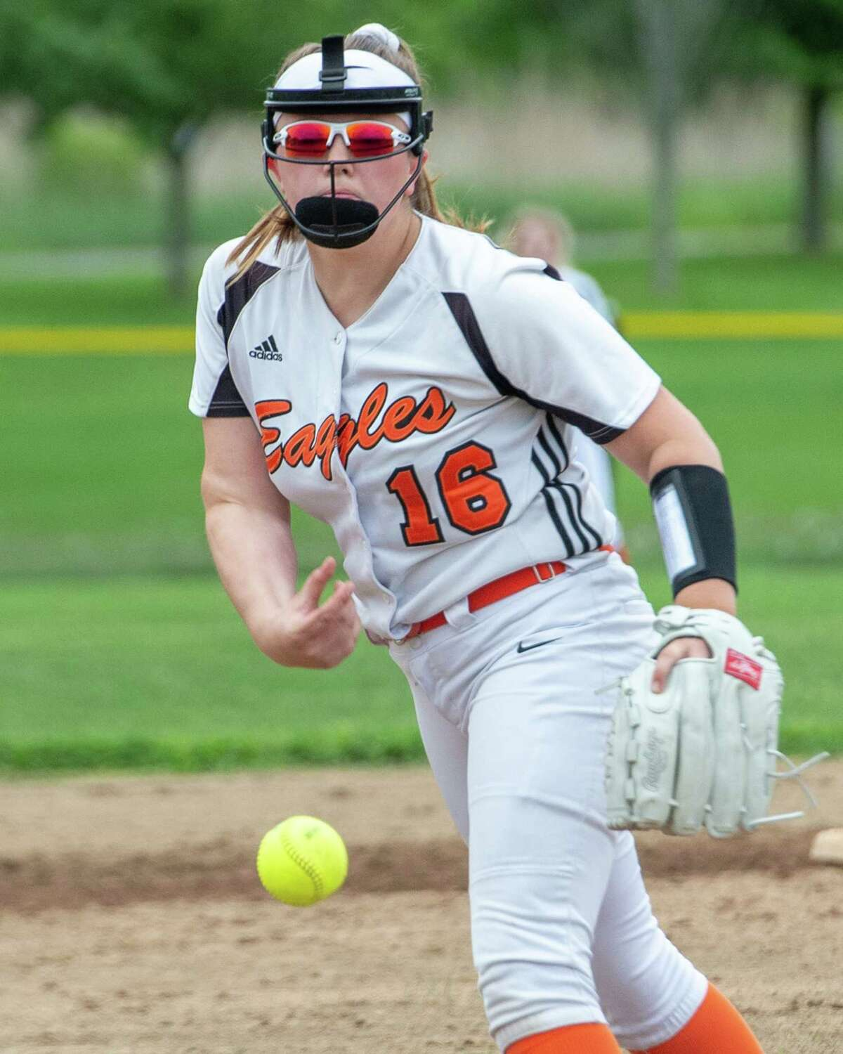 Bethlehem pitcher Anna Cleary during the Section II, Class AA quarterfinals against Guilderland at Bethlehem High School on Wednesday, May 29 2019. The experience that season has helped her this year, she said. (Jim Franco/Special to the Times Union.)