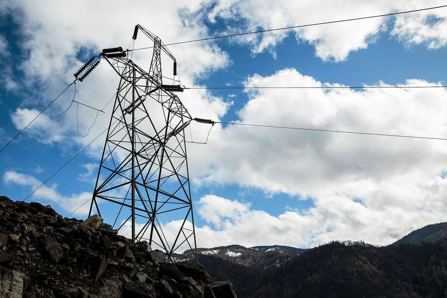 The PG&E transmission tower that sparked the Camp Fire, in Pulga, Calif., Feb. 28, 2019. Photo: Max Whittaker / The New York Times