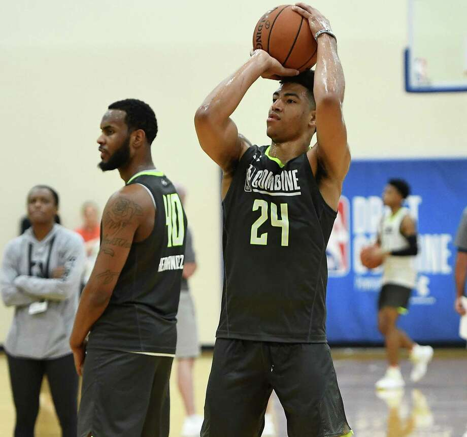 Quentin Grimes (24) participates in workouts during Day One of the NBA Draft Combine at Quest MultiSport Complex on May 16, 2019 in Chicago, Illinois. Photo: Stacy Revere, Stringer / Getty Images / 2019 Getty Images
