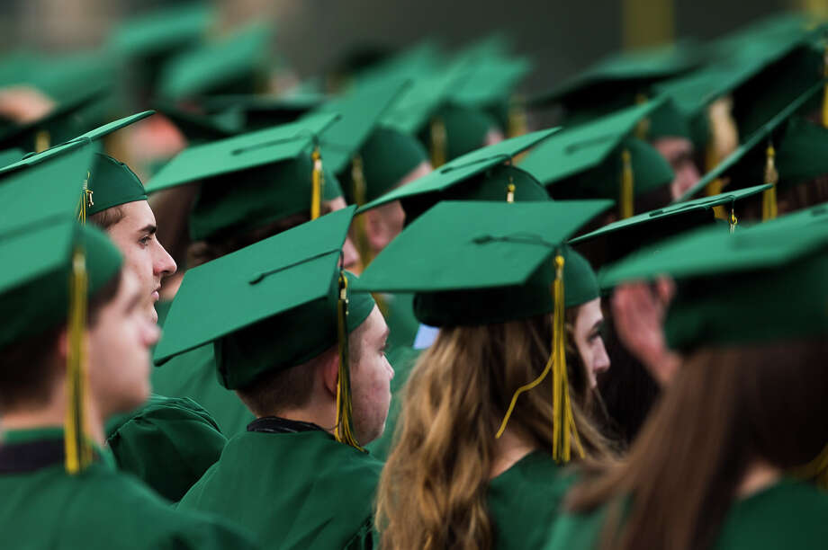 FILE — H. H. Dow High School seniors celebrate graduation during their commencement ceremony on Wednesday, May 29, 2019 at Dow Diamond. (Katy Kildee/kkildee@mdn.net) Photo: (Katy Kildee/kkildee@mdn.net)