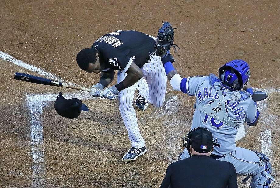 The White Sox' Tim Anderson was hit by a pitch by the Royals' Glenn Sparkman in the second inning. Photo: Jonathan Daniel / Getty Images