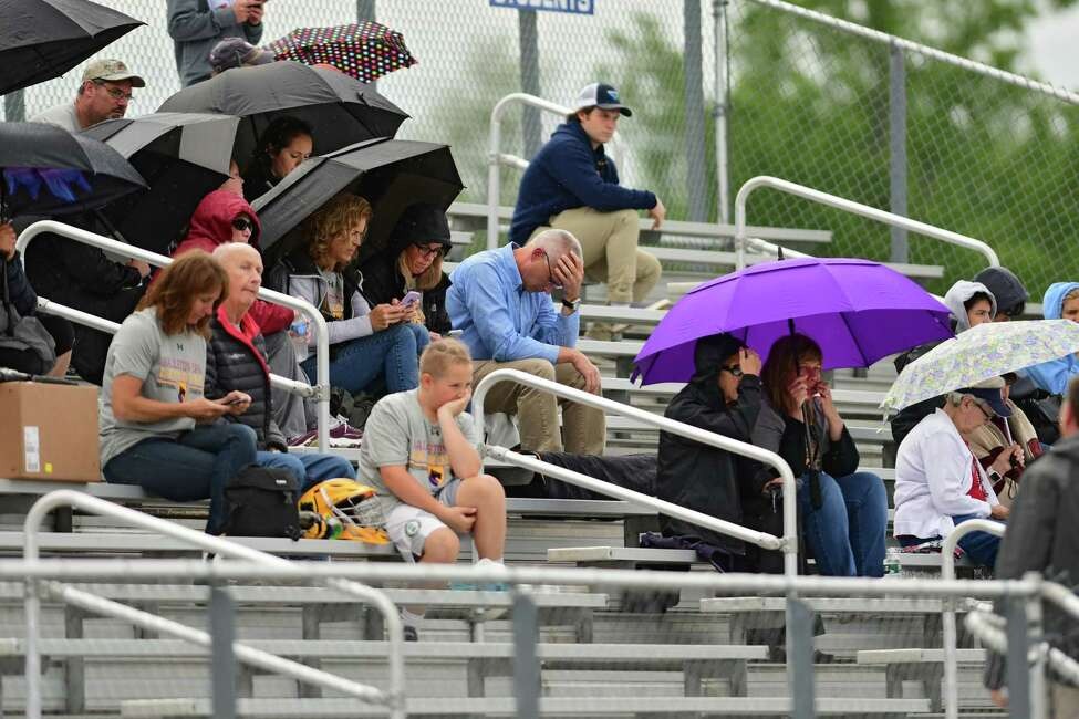 Ballston Spa fans watch as their team plays Jay-Cross River during the Class B boys' state regional lacrosse game held at Columbia High School on Wednesday, May 29, 2019 in East Greenbush, N.Y. (Lori Van Buren/Times Union)