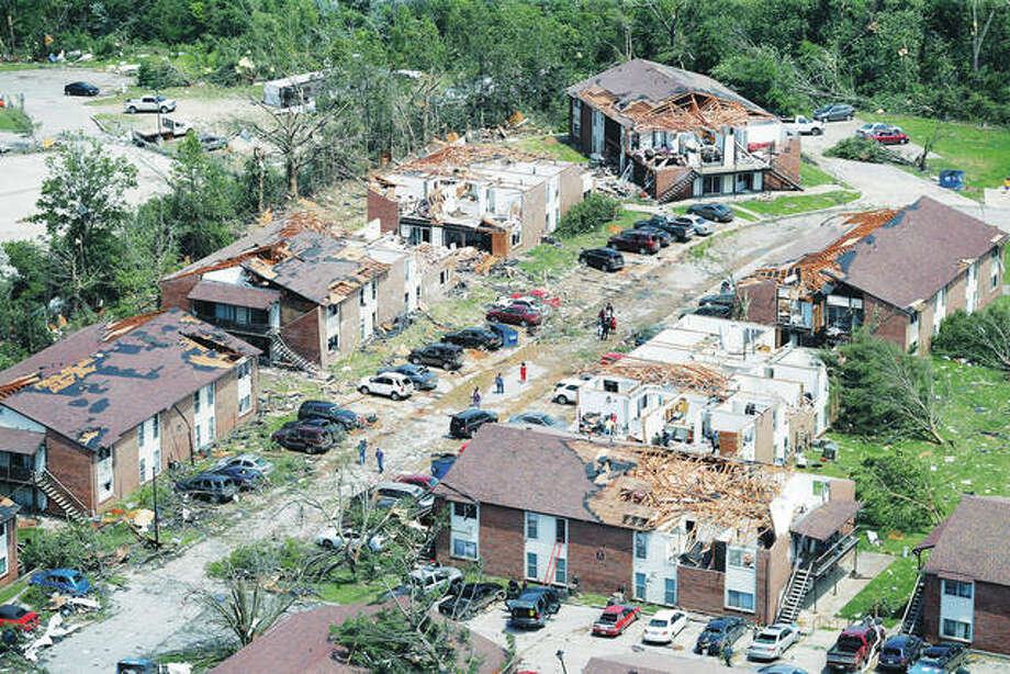 Damage from a May 22 tornado is spread across Jefferson City, Missouri. Eight years to the day after a devastating tornado killed 161 people in Joplin, another big twister ripped through another Missouri community, but with a far different result: No deaths, no serious injuries. Photo: Jeff Roberson | AP