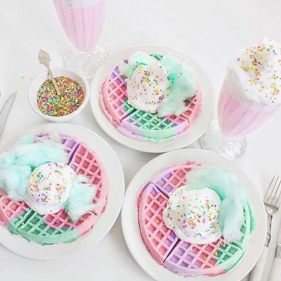 Giant cotton candy-topped smoothie concoctions and sundaes and brownies overloaded with sprinkles and toppings are just some of the sweet treats offered at the cafe. Photo: Courtesy Sweet Rainbow Cafe
