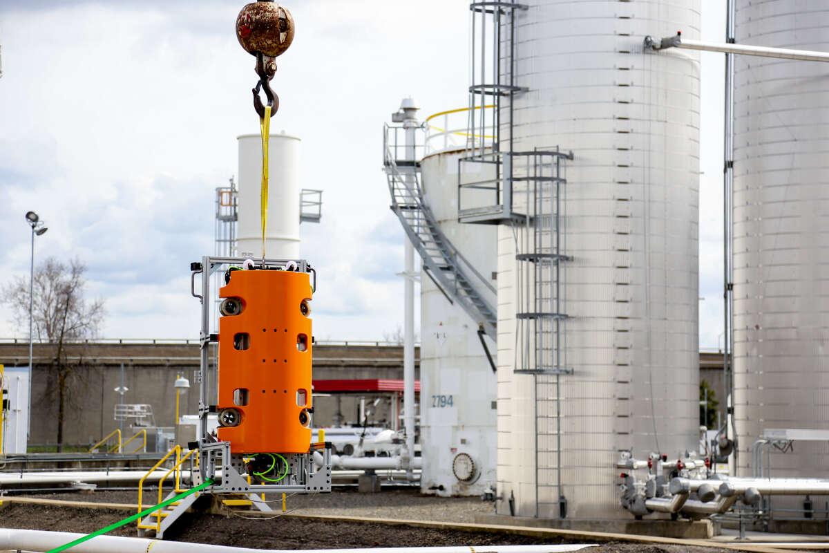 Square Robot's autonomous robot in preparation before it inspects a Phillips 66 diesel storage tank.