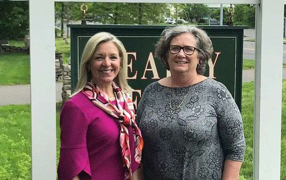 Berkshire Hathaway HomeServices New England Properties CEO Candace Adams and Realty Seven owner Peg Koellmer (L-R) in May 2019 in Wilton, Conn. (Photo via Berkshire Hathaway HomeServices New England Properties)