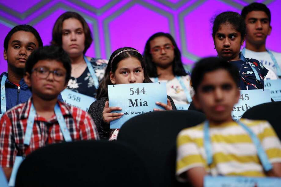 Mia Cuevas, 12, of Laredo is shown at the Scripps National Spelling Bee in this file photo. Photo: Patrick Semansky /Associated Press / Copyright 2019 The Associated Press. All rights reserved.