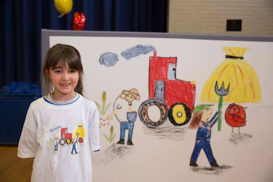 "Natalia Pepe, a third-grader at St. Bridget School in Cheshire, was named Google's Connecticut winner with her doodle, ""Farmers."" Photo: Contributed Photo"