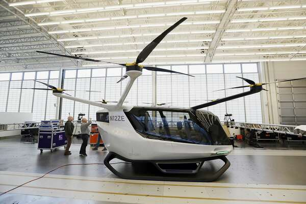 This Tuesday, May 28, 2019, photo shows the Skai vehicle, developed by Alaka'i Technologies in Newbury Park, Calif. The transportation company is betting its hydrogen-powered electric flying vehicles will someday serve as taxis, cargo carriers and ambulances of the sky. (AP Photo/Marcio Jose Sanchez)