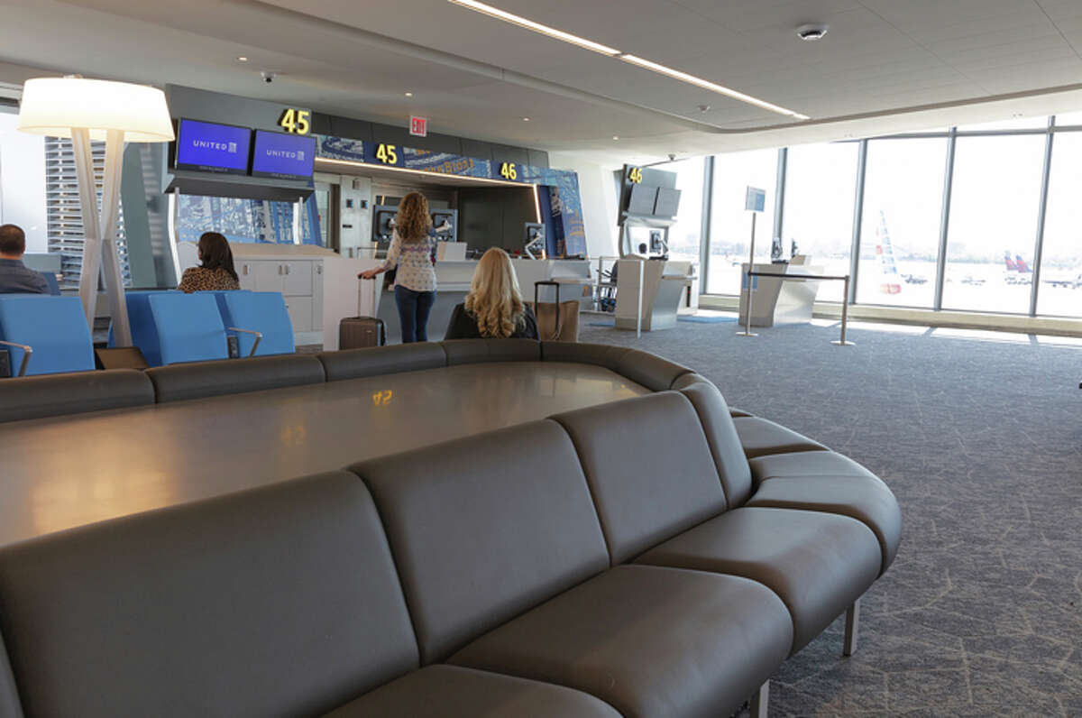 New United gate area in New York LaGuardia's rebuilt Terminal B.