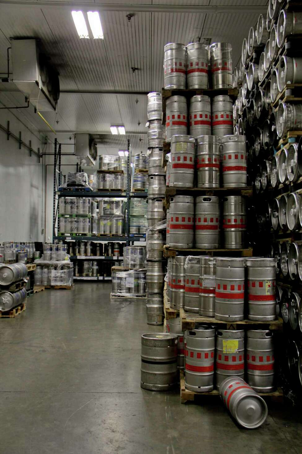 Inside of one of the units that store kegs of beer at the Decrescente Distributing Co. center in Mechanicville. A new federal tariff is being slapped on beer kegs imported from China, German and Mexico. (Erin Colligan / Times Union archives)
