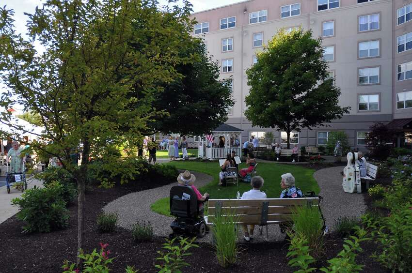 View of the new garden at The Beltrone Living Center during a 10 year anniversary celebration for The Beltrone Living Center in Colonie, NY on Sunday August 8, 2010. (Philip Kamrass / Times Union )