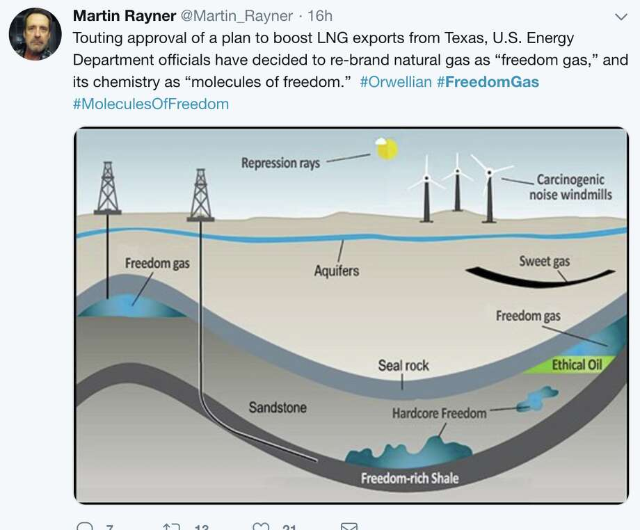 """Twitter responds to the Trump administration's rebranding of natural gas as """"freedom gas."""" Photo: Martin Rayner"""
