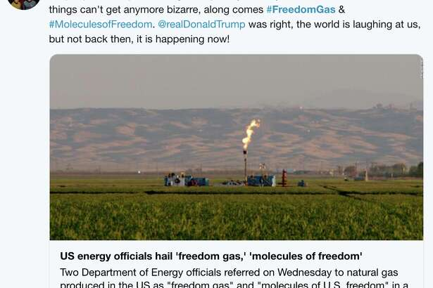 "Twitter responds to the Trump administration's rebranding of natural gas as ""freedom gas."""