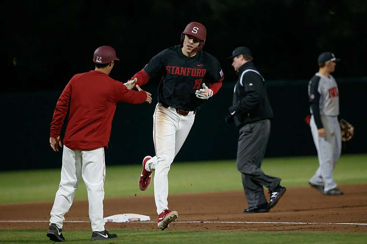 Stanford's Will Matthiessen is a dual threat as a starting pitcher and the designated hitter, shown after hitting one of his 10 home runs.