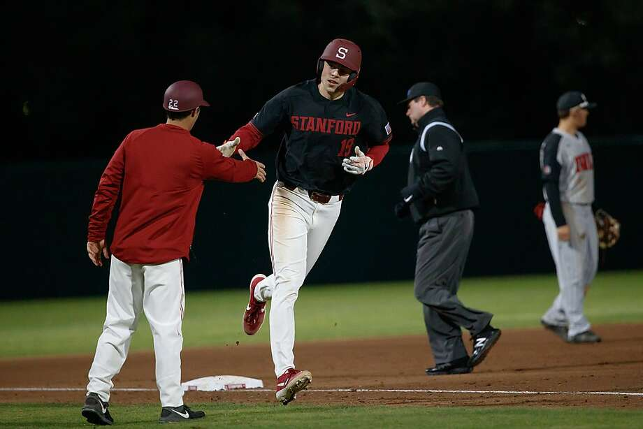 Stanford's Will Matthiessen — a dual threat as a starting pitcher and the designated hitter — rounds third after hitting one of his 10 home runs. Photo: Bob Drebin / Isiphotos.com