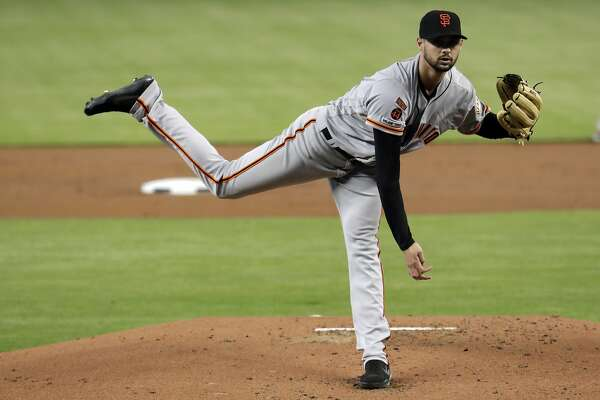 San Francisco Giants starting pitcher Tyler Beede throws during the first inning of a baseball game against the Miami Marlins, Thursday, May 30, 2019, in Miami. (AP Photo/Lynne Sladky)