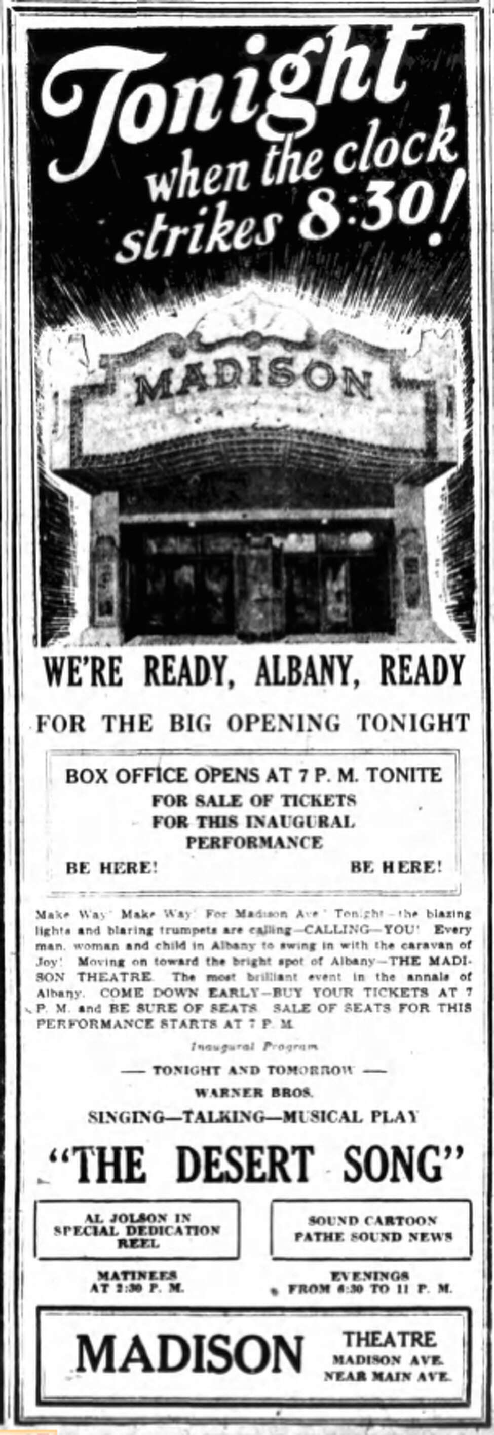 Advertisement for Madison Theatre's opening night. Ran in the Times-Union on May 29, 1929.