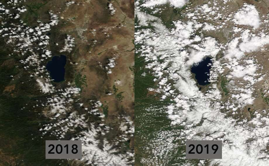 NASA satellite imagery shows the difference between the Sierra snowpack in 2018 when snow levels were below average and in 2019 when they were above average. In the left image from May 29, 2018, the snowpack was at 6 percent of average and in the right image from May 29, 2019, the snowpack was 202 percent of normal. Photo: NASA