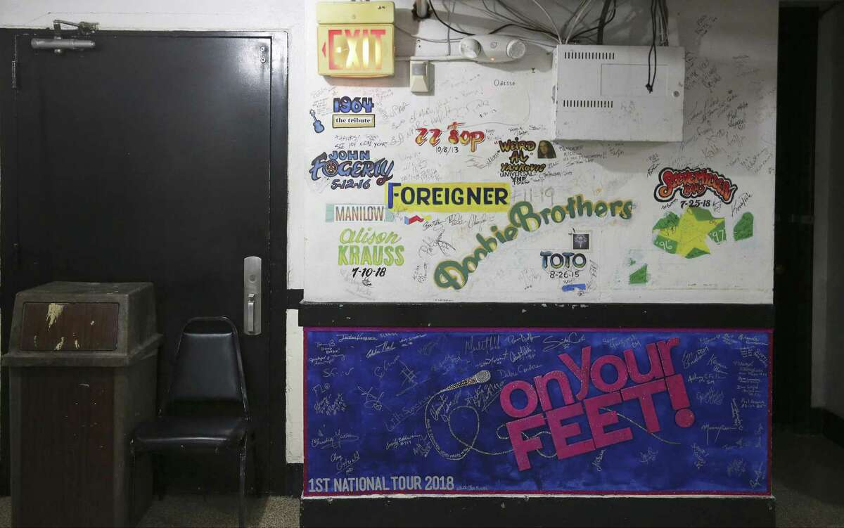 """The hallways backstage in the Majestic Theatre are lined with murals commemorating touring productions that have played the space. The recent additions include one left by the cast of """"On Your Feet!,"""" the jukebox musical about Gloria and Emilio Estefan that paid its first visit to San Antonio in 2018. It shares space with stamps and signatures from visits by the Doobie Brothers, Toto, Foreigner, Wierd Al Yankovik and others."""
