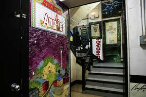 The hallways backstage in the Majestic Theater are lined with murals from past shows.
