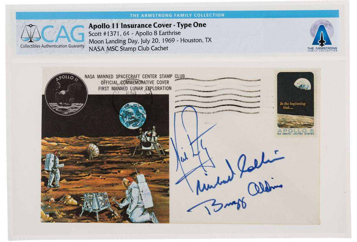 """An envelope """"insurance cover"""" signed by Apollo 11 crew members was placed at auction in November at Heritage Auctions. The covers were given to crew members' wives to sell if the astronauts didn't return home. Astronauts didn't qualify for life insurance."""