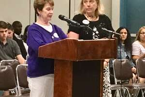 Marge Hiller and Anne Gribbons address the Bridgeport Board of Education. May 28, 2019