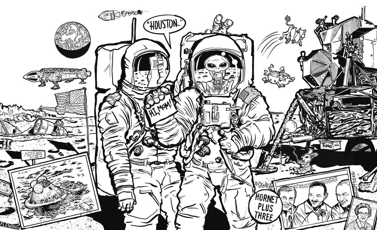 Celebrate the 50th anniversary of the Apollo 11 moon landing by bringing this space scene - drawn by staff artist Ken Ellis - to life with vivid colors.