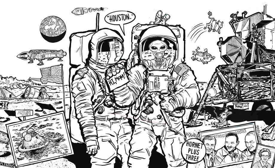 Celebrate the 50th anniversary of the Apollo 11 moon landing by bringing this space scene — drawn by staff artist Ken Ellis — to life with vivid colors.