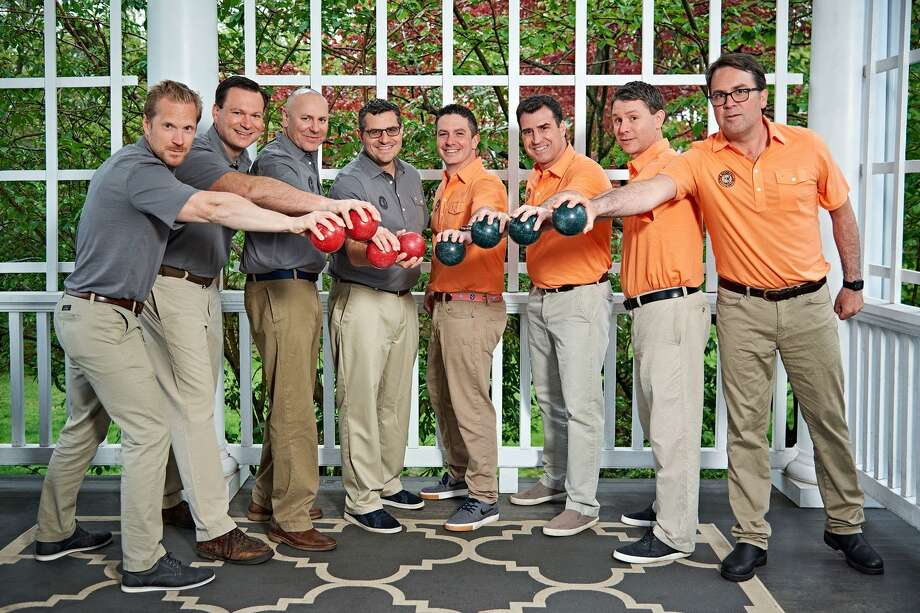 The Ridgefield 8 — Mark Blandford, Bill Diamond, Chris Forsyth, Brendan Kenny, Jeff Levi, Kyle Morehouse, Kristian Ording and Mike Rosella — have to play bocce for 32 hours and five minutes to break the world record. Photo: Jennifer Forsyth / Contributed Photo / Mike Yamin