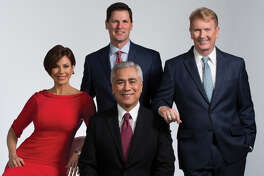 KPRC Channel 2 News was the front-runner in most other newscast, taking the top-rated spot at 5 a.m., 6 a.m., midday, and 6 p.m PICTURED (L to R) Dominque Sachsa, Bill Balleza, Randy McIlvoy, Frank Billingsley