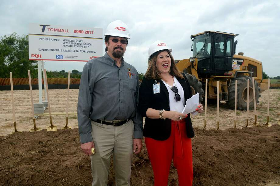 Tomball ISD Board of Trustees President Mark Lewandowski, left, and TISD Superintendent Martha Salazar-Zamora led the groundbreaking ceremony for the district's new elementary school, new junior high school and new athletic facility at the location near the intersection of the Grand Parkway and Cypress-Rosehill Road on May 29, 2019. Photo: Jerry Baker, Houston Chronicle / Contributor / Houston Chronicle