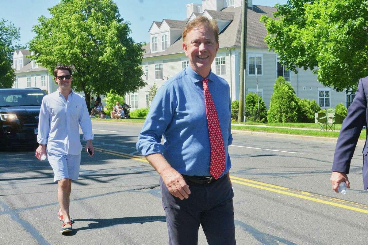 Governor Ned Lamont walks in Norwalk's Memorial Day parade, in Norwalk, Conn. May 27, 2019.