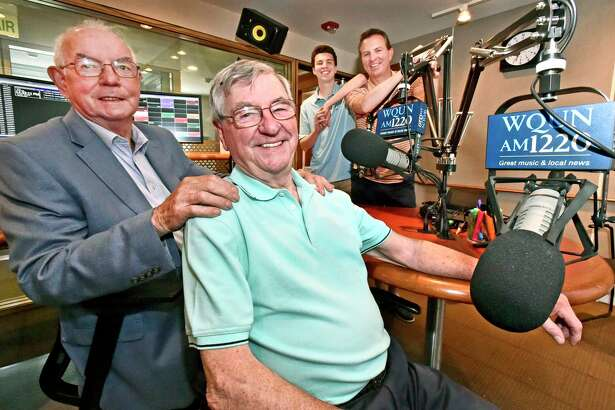 "Sean Canning, 83, of Wallingford, radio host of ""The Sounds of Ireland"" program on WQUN, front right, with co-hosts Tom Faherty, 78, of North Haven, front left, his grandson Brendan T. Canning, 16, rear left, and son Brendan F. Canning, 50, both of Wallingford, airs his last show in May 2019 after a 44-year run with the closing of the community radio station by Quinnipiac University."