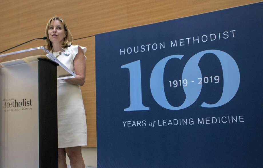 Debra Sukin, Houston Methodist The Woodlands Hospital CEO, announces an expansion to the hospital during a centennial celebration Wednesday, May 29, 2019 at Houston Methodist The Woodlands Hospital in The Woodlands. Photo: Cody Bahn, Houston Chronicle / Staff Photographer / © 2018 Houston Chronicle