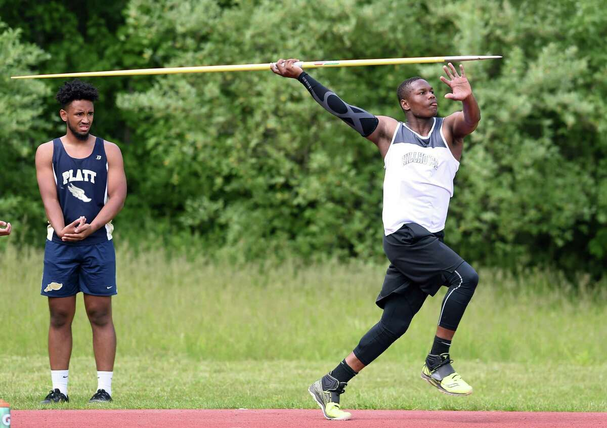 Gary Moore, Jr., of Hillhouse throws the javelin in the CIAC Class MM Outdoor Track & Field Championship at Middletown High School on May 29, 2019.