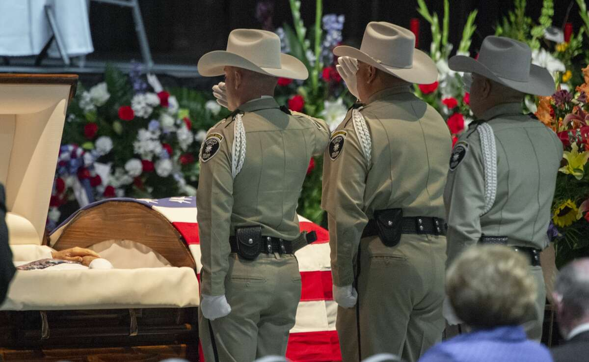Honor guards stand at attention at the casket 05/30/19 at the funeral for Sheriff Gary Painter at the Midland Horseshoe. Tim Fischer/Reporter-Telegram