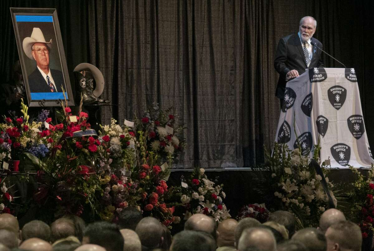 Midland County Judge Terry Johnson speaks 05/30/19 at the funeral for Sheriff Gary Painter at the Midland Horseshoe. Tim Fischer/Reporter-Telegram
