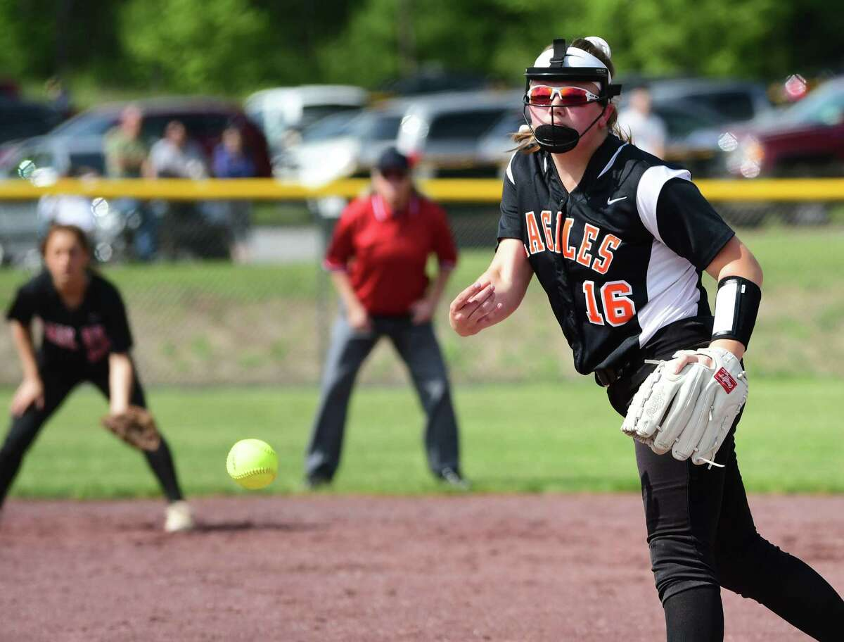 Bethlehem pitcher Anna Cleary throws the ball during a Class AA semifinal softball game against Colombia held at the Luther Forest Complex on Thursday, May 30, 2019 in Malta, N.Y. The experience that season has helped her this year, she said. (Lori Van Buren/Times Union)