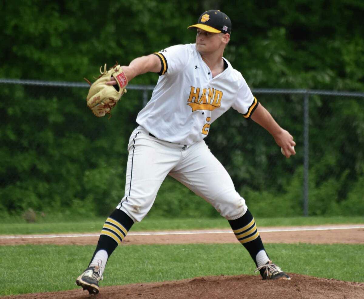 Hand's Jake Crawford pitches against Guilford in the Class L second round game at Hand on Thursday.