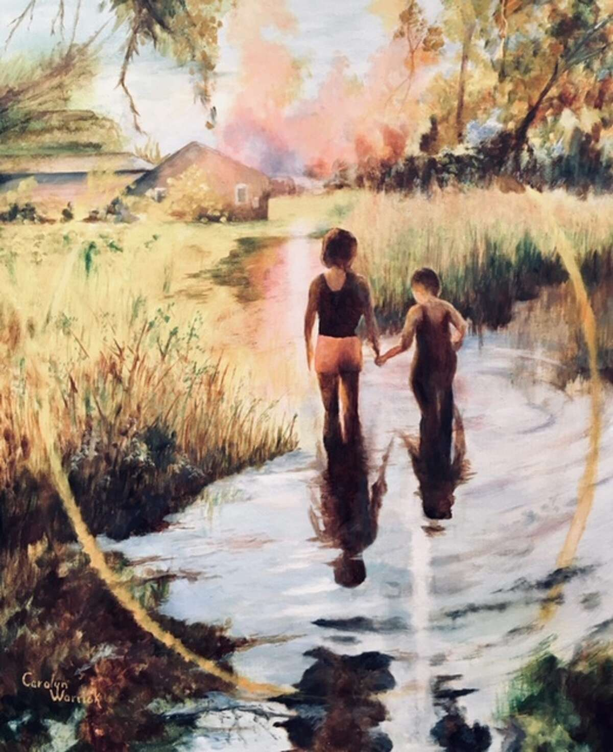Ayla and Judah by Carolyn Warrick of Plainview - 1st place Oil Category