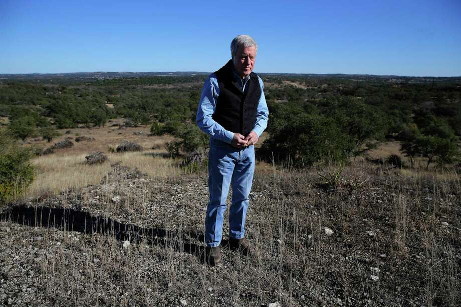 Andy Sansom, manager of the historic Hershey Ranch in Stonewall, stands on a hilltop that overlooks the 1,500-acre property on Thursday, Dec. 27, 2018. Sansom is concerned about the environmental impact of the Permian Highway Pipeline, a natural gas project that will run through the property. Sansom is among a group of Texas Hill Country landowners suing Kinder Morgan and the Railroad Commission to change the pipeline's route. A state district court judge tossed out the lawsuit in a Tuesday afternoon decision.  Photo: Kin Man Hui, Staff Photographer / San Antonio Express-News / ©2018 San Antonio Express-News