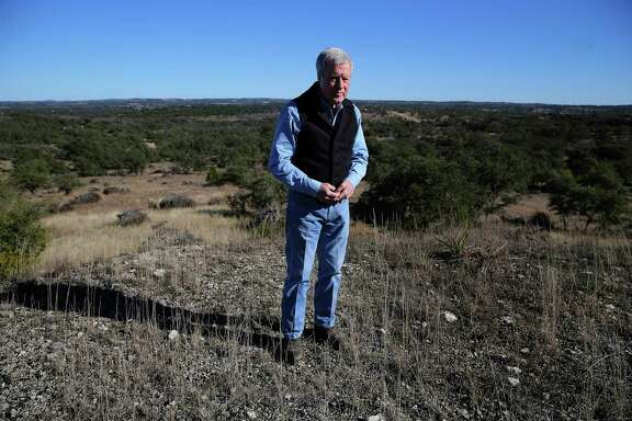 Andy Sansom, manager of the historic Hershey Ranch in Stonewall, stands on a hilltop that overlooks the 1,500-acre property on Thursday, Dec. 27, 2018. A state district judge in Austin tossed out a lawsuit filed by Sansom and others, who were seeking to block a Kinder Morgan pipeline from being routed through the Texas Hill Country.