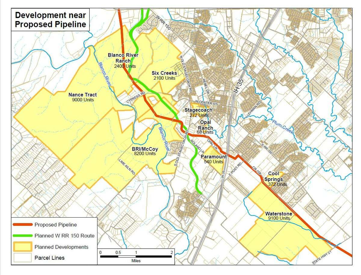 Under its current route, Kinder Morgan's proposed Permian Highway Pipeline runs through several subdivisions planned in the City of Kyle.The Central Texas town is fighting the pipeline project after spending millions of dollars to build water, service and electricity lines to support as many as 20,000 new homes.