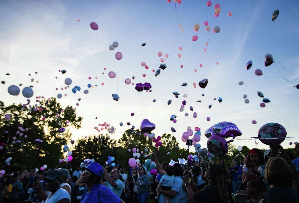 A large crowd of supporters and community members release balloons in memory of Maleah Davis on Wednesday, May 15, 2019, in Sugar Land.