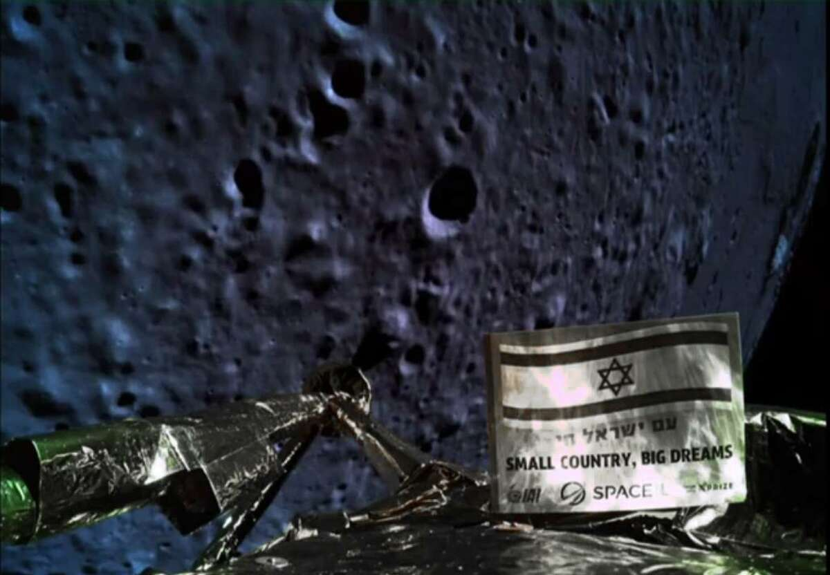 A handout picture released by SpaceIL and Israel Aerospace Industries on April 11, 2019, shows a picture taken by the camera of the Israel Beresheet spacecraft, of the moon's surface as the craft approaches and before it crashed during the landing. Israel's attempt at a moon landing failed at the last minute.